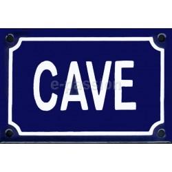 Plaque de rue  émaillée de 10x15cm plate, faite au pochoir : CAVE