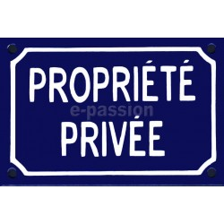 Plaque de rue émaillée de 10x15cm  plate, faite au pochoir : PROPRIETE PRIVÉE.