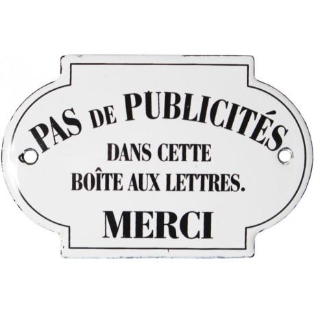 Plaque de service émaillée Bombée dim. 5,5 x 8,5 cm :  PAS de PUBLICITÉS...MERCI