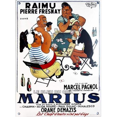 Plaque émaillée bombée : MARIUS de M. Pagnol