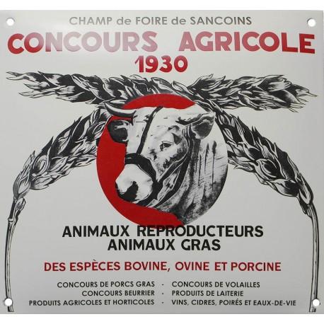 Plaque émaillée  : CONCOURS AGRICOLE