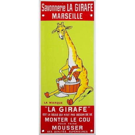 Plaque émaillée : SAVON LA GIRAFE