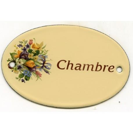 Pour votre décoration : Plaque de service émaillée plate de 11x7cm crème, fleurs assorties CHAMBR