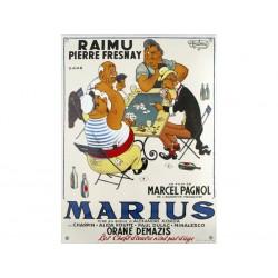 Plaque émaillée bombée  : MARIUS de M. Pagnol.