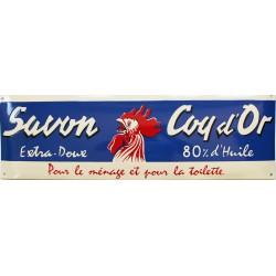 Plaque émaillée : SAVON COQ D'OR.