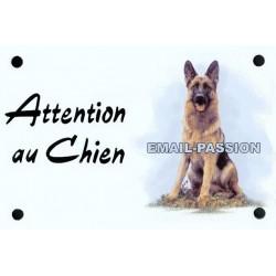 plaque émaillé Attention au Chien : BERGER ALLEMAND
