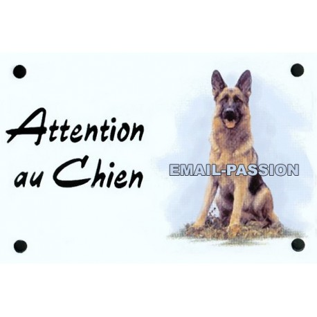 plaque émaillé 10 x 15 cm Attention au Chien : BERGER ALLEMAND