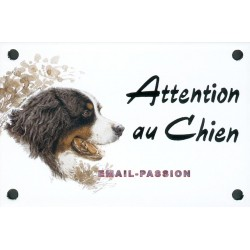 Plaque émail 10x15cm Attention au Chien : BOUVIER BERNOIS