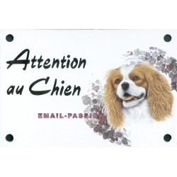 Plaque émail 10x15cm Attention Chien : CAVALIER KING CHARLES