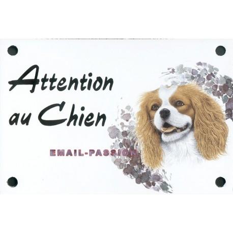 Plaque émail 10x15cm Attention Chien : CAVALIER KING CHARLES