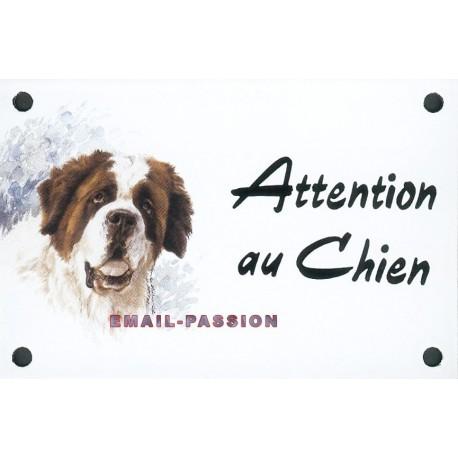 Plaque émail 10x15cm Attention au Chien : SAINT BERNARD