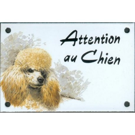 Plaque émail 10x15cm Attention au Chien : Caniche abrico
