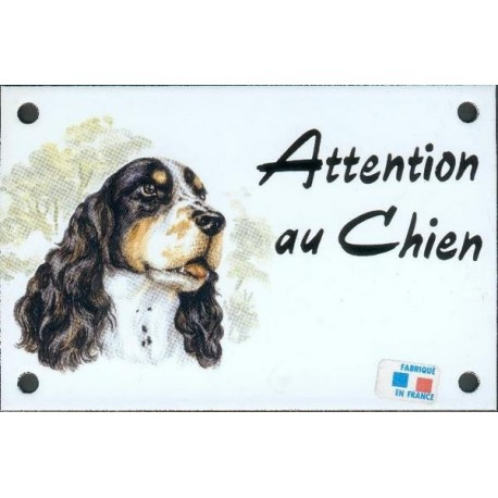 Plaque émail 10x15cm Attention au Chien : Cocker Spaniel
