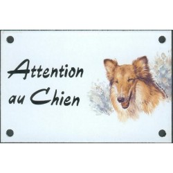 Plaque émail 10x15cm Attention au Chien : Colley