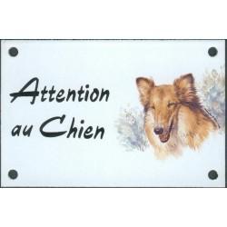 Plaque émail 10x15cm Attention au Chien : Colley