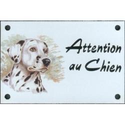 Plaque émail 10x15cm Attention au Chien : Dalmatien