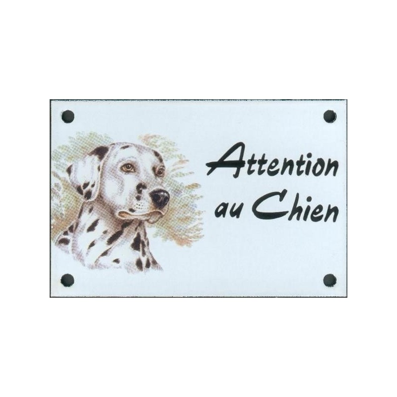 plaque de rue maill e 10x15cm attention au chien dalmatien. Black Bedroom Furniture Sets. Home Design Ideas