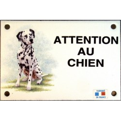 Plaque émail 10x15cm Attention au Chien : Dalmatien assis