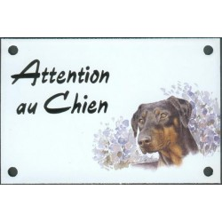 Plaque émail 10x15cm Attention au Chien : Doberman