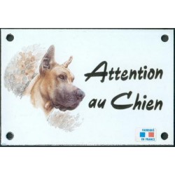 Plaque émail 10x15cm Attention au Chien : Dogue