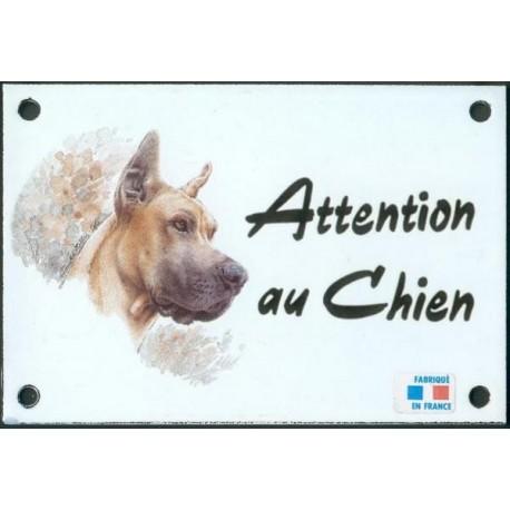 Plaque émail 10x15cm Attention au Chien : Dogue