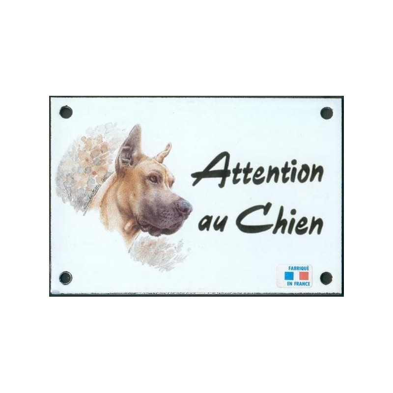 plaque de rue maill e 10x15cm attention au chien dogue. Black Bedroom Furniture Sets. Home Design Ideas