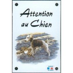 Plaque émail 10x15cm Attention au Chien : Fox Terrier