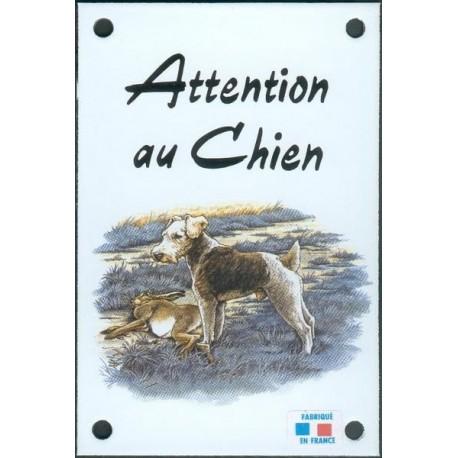 Plaque émail 10x15cm Attention au Chien : Fox Terrier
