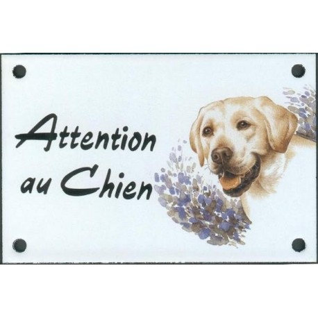 Plaque émail 10x15cm Attention au Chien : Labrador