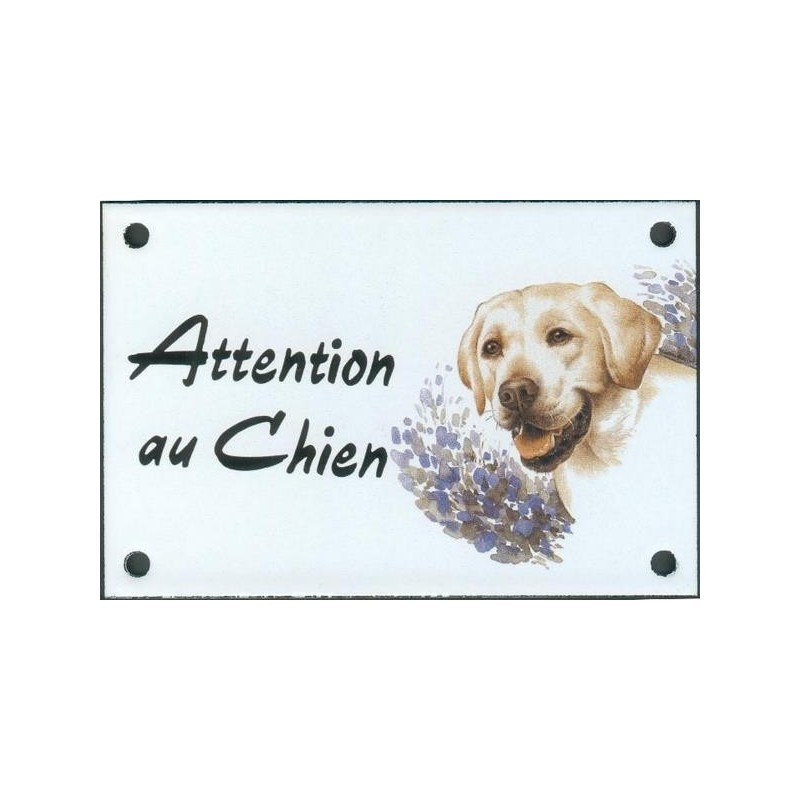 plaque de rue maill e 10x15cm attention au chien labrador. Black Bedroom Furniture Sets. Home Design Ideas
