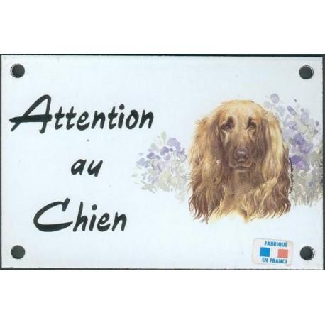 Plaque émail 10x15cm Attention au Chien : Levrier Afghan