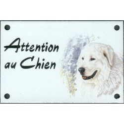 Plaque émail 10x15cm Attention au Chien : Montagne des Pyrénées