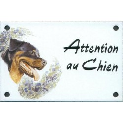 Plaque émail 10x15cm Attention au Chien : Rotweiler