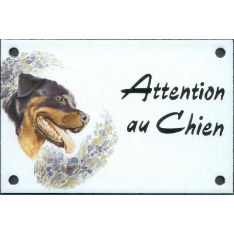 Plaque émail 10x15cm Attention au Chien : Rotweiler