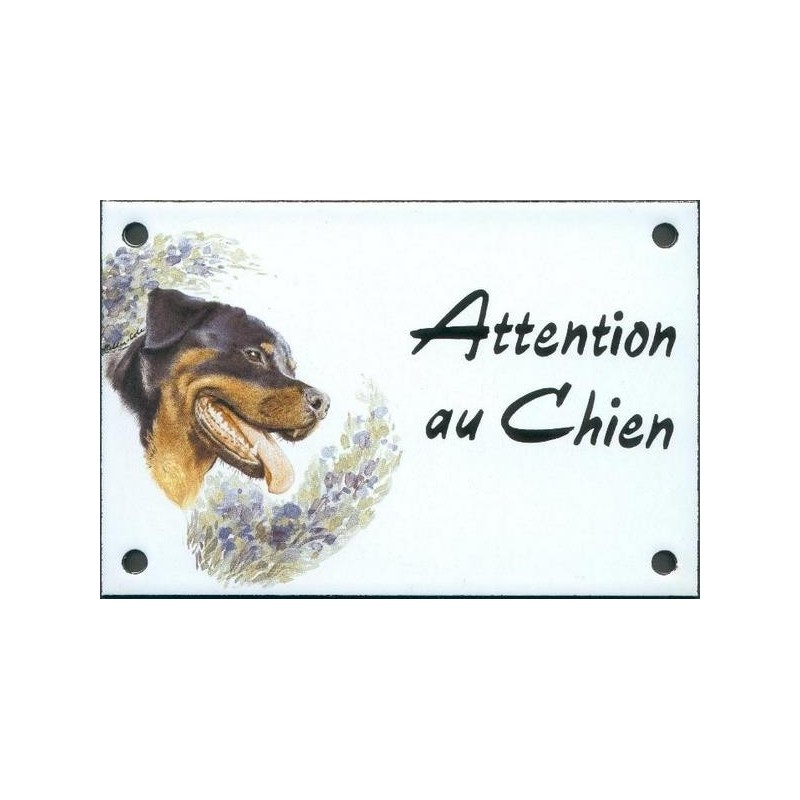 plaque de rue maill e 10x15cm attention au chien rotweiler. Black Bedroom Furniture Sets. Home Design Ideas