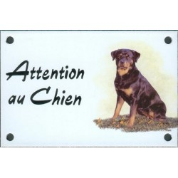 Plaque émail 10x15cm Attention au Chien : Rotweiler assis
