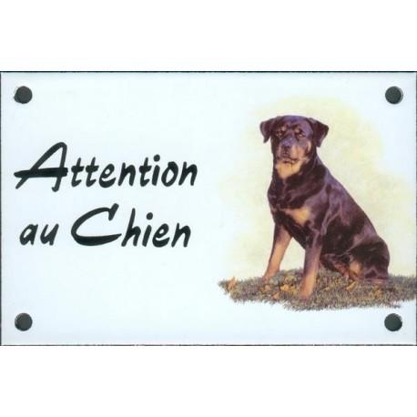 Plaque émail 10x15cm Attention au Chien : Rotweiler assis