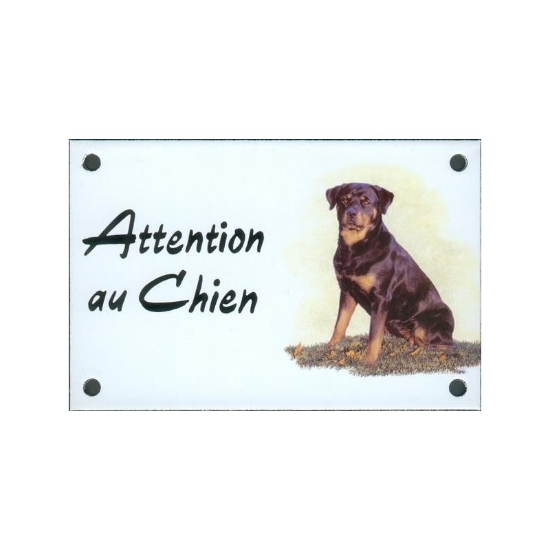 plaque de rue maill e 10x15cm attention au chien rotweiler assis. Black Bedroom Furniture Sets. Home Design Ideas