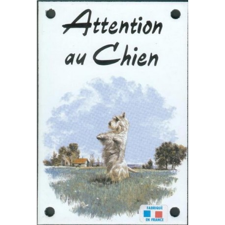 Plaque émail 10x15cm Attention au Chien : Scottich Terrier Blanc