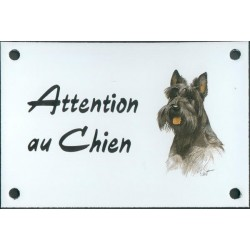 Plaque émail 10x15cm Attention au Chien : Scottich Terrier Noir