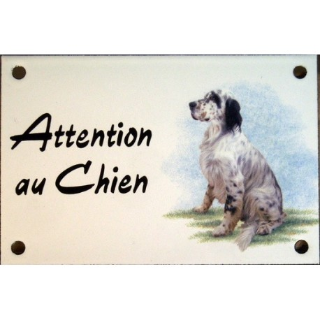 Plaque émail 10x15cm Attention au Chien : Setter Anglais