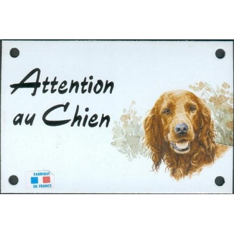 Plaque émail 10x15cm Attention au Chien : Setter