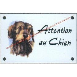 Plaque émail 10x15cm Attention au Chien : Teckel poil dur court
