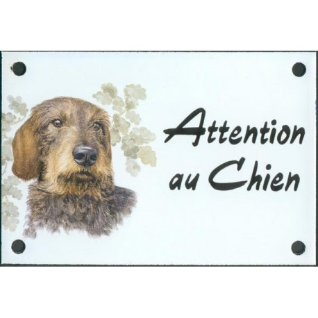 Plaque émail 10x15cm Attention au Chien : Teckel poil dur