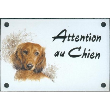 Plaque émail 10x15cm Attention au Chien : Teckel poils longs