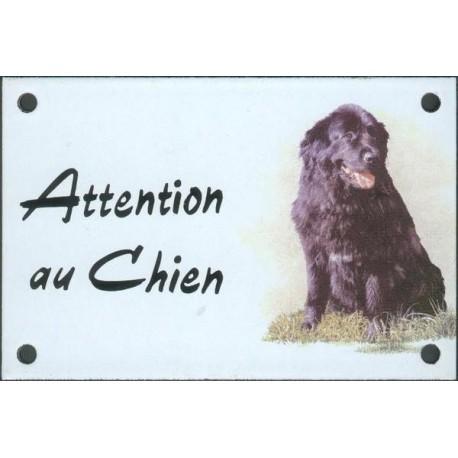 Plaque émail 10x15cm Attention au Chien : Terre neuve assis