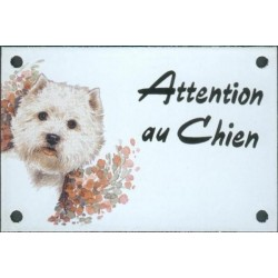 Plaque émail 10x15cm Attention au Chien : Westy