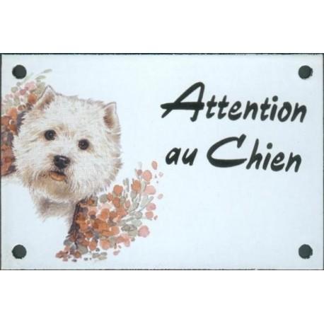Plaque émail 10x15cm Attention au Chien : Westy