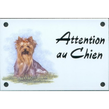 Plaque émail 10x15cm Attention au Chien : Yorkshire assis