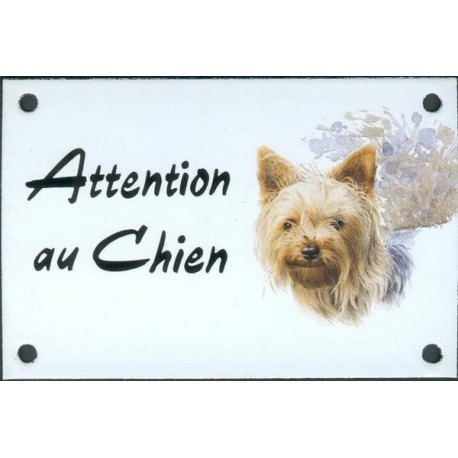 Plaque émail 10x15cm Attention au Chien : Yorkshire